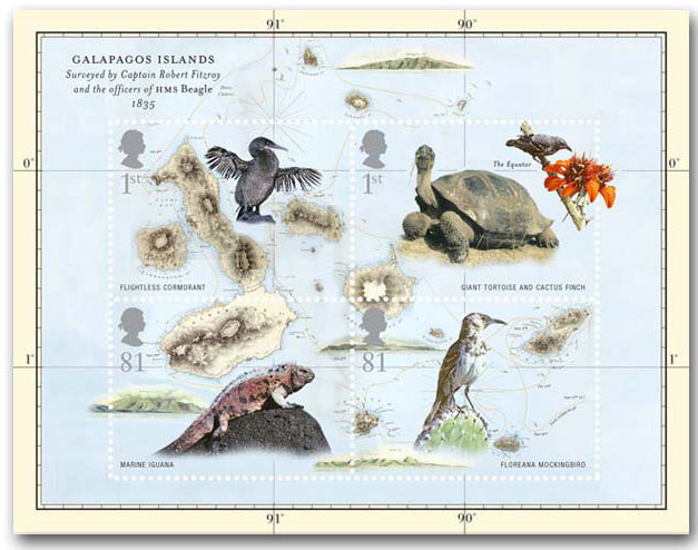 Mini-sheet from the Royal Mail honoring Darwin's discoveries in the Galapagos Islands